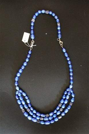 BLUE PEARL AND AGATE NECKLACE