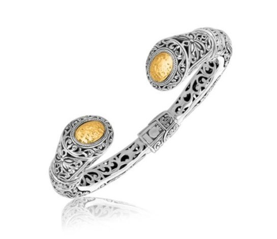 HINGE BAROQUE FILIGREE OPEN BANGLE IN STERLING & 18KY