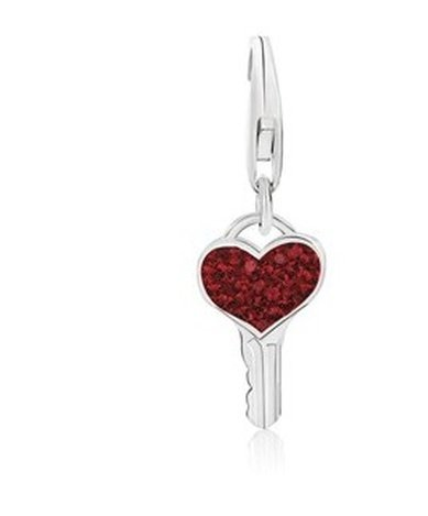 STERL KEY RED TONE CRYSTAL ACCENTED CHARM