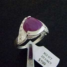 5 CT. RUBY & DIAMOND RING - STERLING