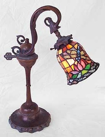 DRAGONFLY STAINED GLASS DESK LAMP - TIFFANY STYLE