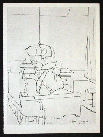 """ADAMI """"BEDROOM SCENE"""" 1970 LITHOGRAPH"""
