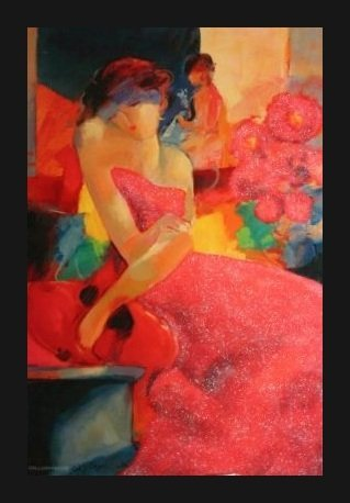"""GHOLAM YUNESSI SIGNED GALLERY PROOF """"LADY IN RED"""""""