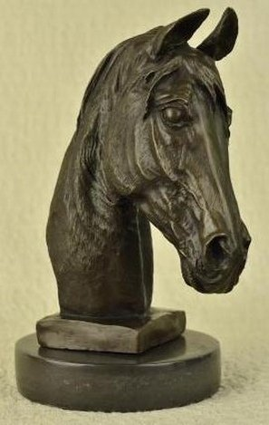 HORSE BUST SIGNED BRONZE - BY BARYE