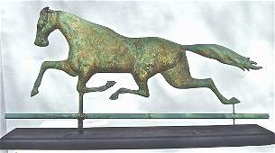 MOLDED COPPER AND CAST IRON RUNNING HORSE WEATHERVANE
