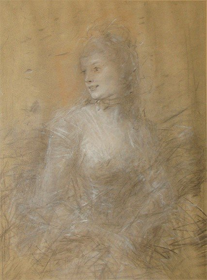 19TH CENTURY IMPRESSIONIST PASTEL DRAWING
