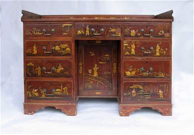 IMPORTANT 18TH CT. QUEEN ANNE  KNEEHOLE DESK JAPANNED