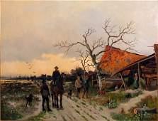G SCHNEIDER, (BELGIAN SCHOOL) OIL ON CANVAS, JAN RUYTEN