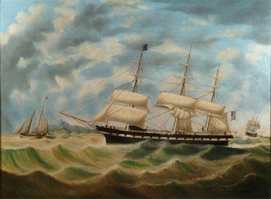 WILLIAM YORKE (YORK) Ship, Oil on Canvas, (1817-1892)