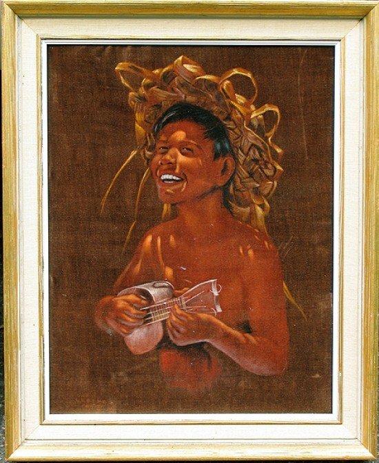 EDGAR LEETEG (1904-1953) TAHITI, HAWAII, YOUNG BOY WITH