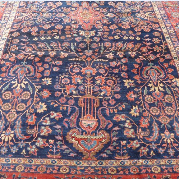 15: Antique Blue Field Sarouk Persian carpet