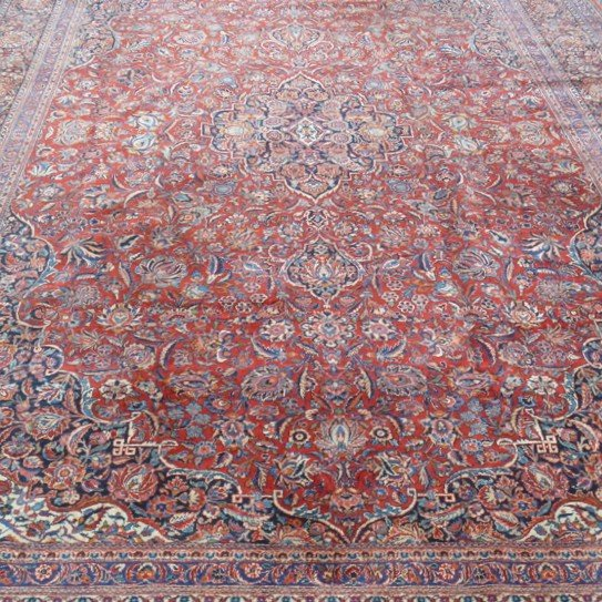 16: Antique Kashan Open Field Room Size Rug