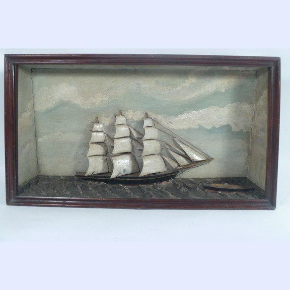 20: Folk Art Carved Clipper Ship Diorama