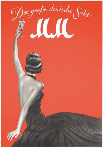 4: ORIGINAL 1950s Champagne Poster MM