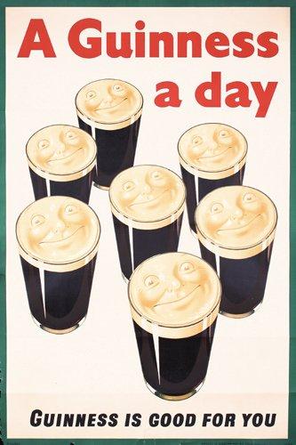 6: ORIGINAL 1930s Guinness A Day Poster