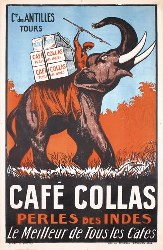 9: Old Poster Cafe Collas Elephant 1920s