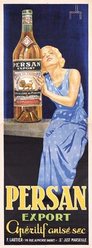 12: HUGE Nicolitsch Poster Persan Export Anis 1930