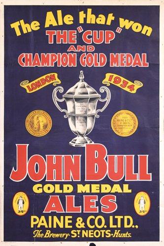 18: Original Poster John Bull Ales Beer 1930s
