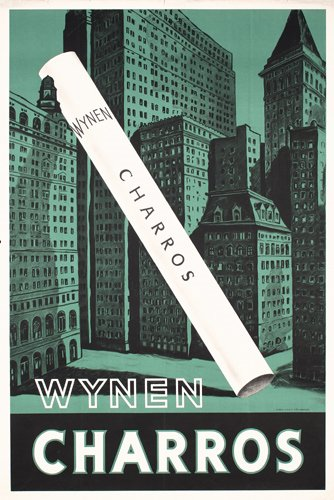 20: STUNNING Original ART DECO Poster Wynen Cigarettes