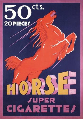 23: Original Horse Super Cigarettes Poster 1930s