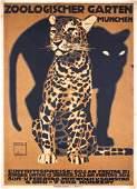 RARE Original Hohlwein Zoo Cats Poster 1912