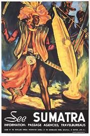 269: Original 1950s Travel Poster  Sumatra