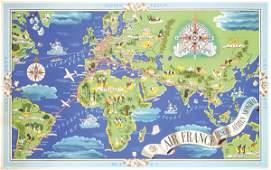 299 RARE Original 1930s Air France Poster Map