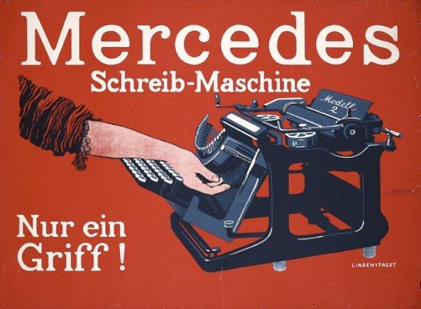 22: Old Original Poster Mercedes Typewriter 1910