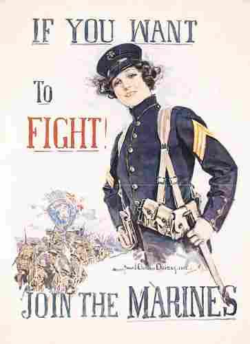 ORIGINAL WW I Christy Marines Poster 1915 RARE