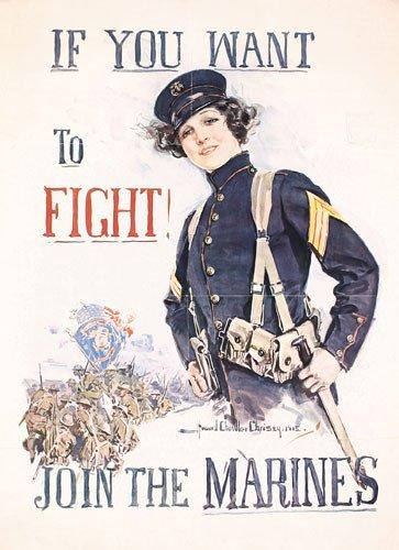 2: ORIGINAL  WW I Christy Marines Poster 1915 RARE