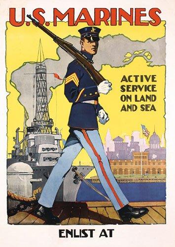 19: GREAT Original Marines WW I Poster Riesenberg