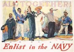 27: Original US WW I Navy Poster All Together 1917