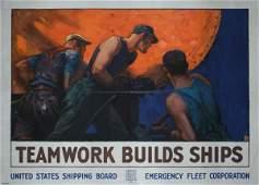 119: RARE Original US WW I Teamwork Poster