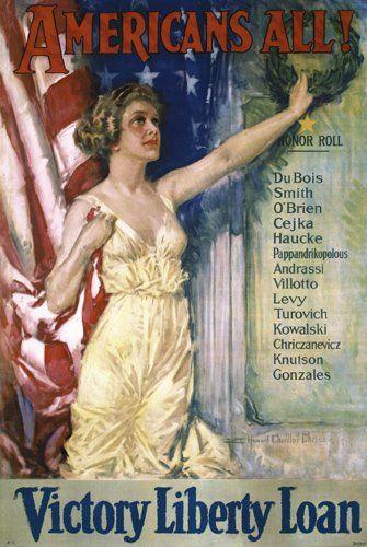 Original US WW I Poster CHRISTY Americans All!