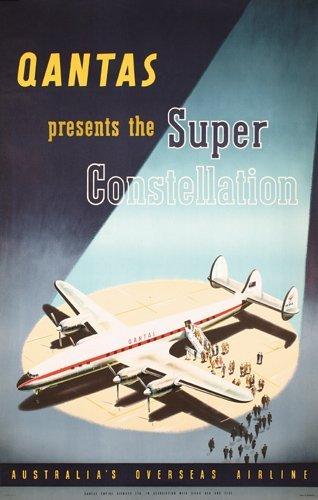 335: Lot of 2 Qantas Travel Posters Constellation Hawai