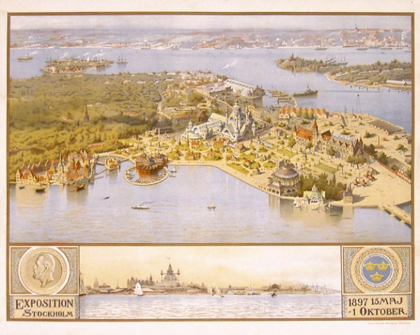 2: ORIGINAL 1890s Stockholm Expo Poster STUNNING