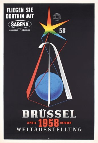 7: Original Sabena Brussels World's Fair Poster