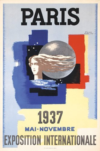 11: ORIGINAL 1937 Paris World's Fair Poster COLIN