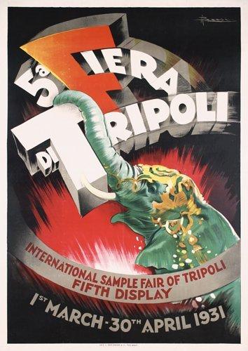 13: STUNNING ORIGINAL Tripoli Poster 1930s Elephant