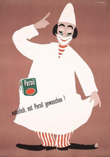 20: Original 1950s Swiss Design Persil Clown Poster