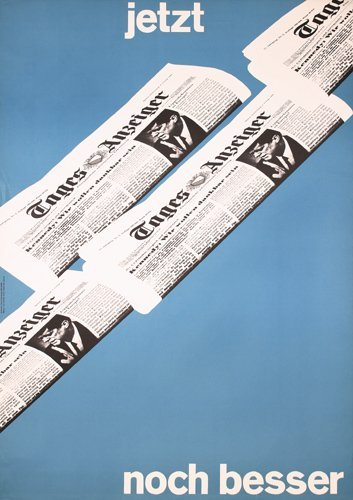 24: Original 1960s Swiss Newspaper Design Poster Plakat