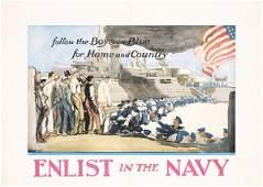 251: Original ENLIST IN THE NAVY Poster US WW I