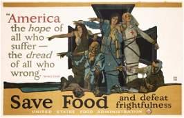 255: Huge Original PAUS Save Food Poster US WW I