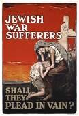 271: RARE Original Jewish War Sufferers Poster US WW I