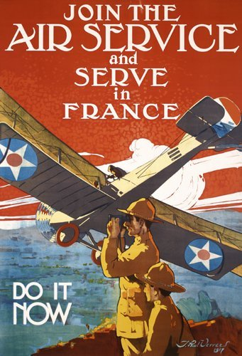 279: RARE Original JOIN THE AIR SERVICE WW I Poster
