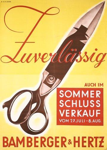 1: Old Bamberger Hertz Clothing Poster 1930s