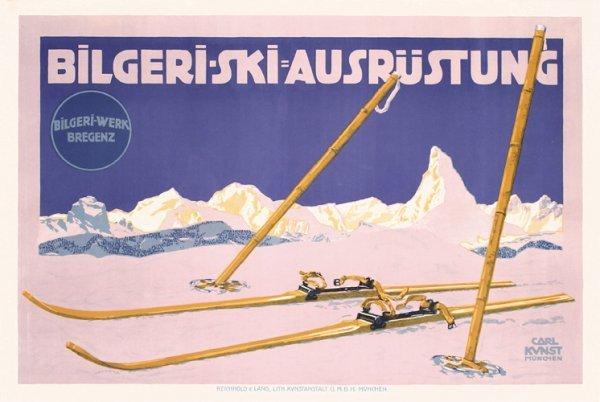 2: Original Bilgeri Ski Poster 1910 CARL KUNST