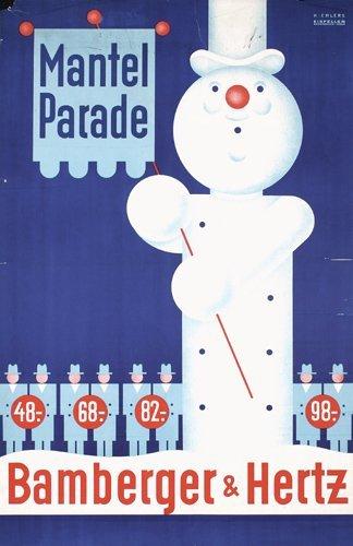 5: Original Snowman Advertising Poster Bamberger