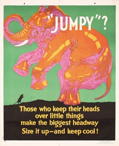 148: Original Mather Work Poster 1920s Elephant JUMPY