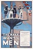 159: Original US WW I Poster The Navy Wants Men